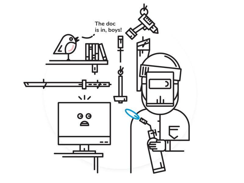 The Dreaded Software Updates designer black and white comic art comic character software update illustration vector illustration vector