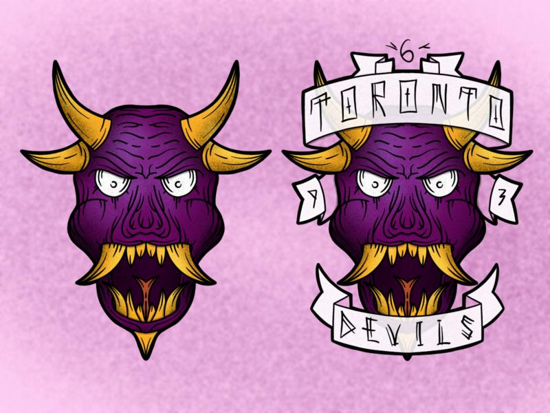 Devils logodesign face branding logo character detailed handdrawn procreate 2d illustration