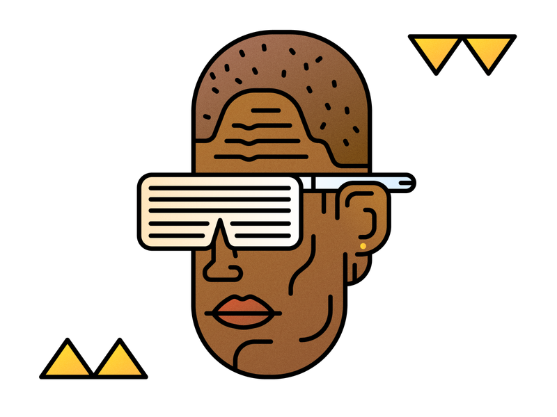 YE kanye shades face line character clean minimal 2d vector illustration