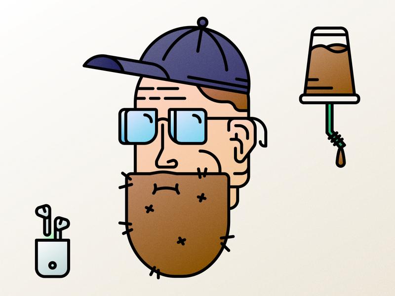 Autoportrait! airpods coffee portrait character design beard glasses face design character detailed line clean minimal 2d vector illustration