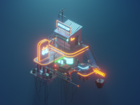 Another Cloud 66 route 66 gas station pitstop lowpolyart low poly lowpoly isometric design isometric illustration isometric diorama blender 3d blender3d blender