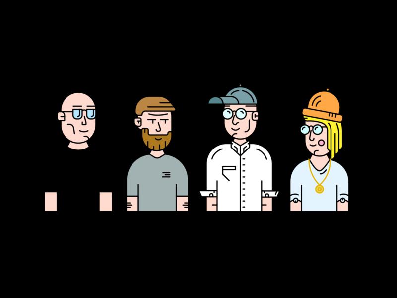 Bunch of Developers branding design character design comic developer management woman man characters line clean minimal 2d vector illustration