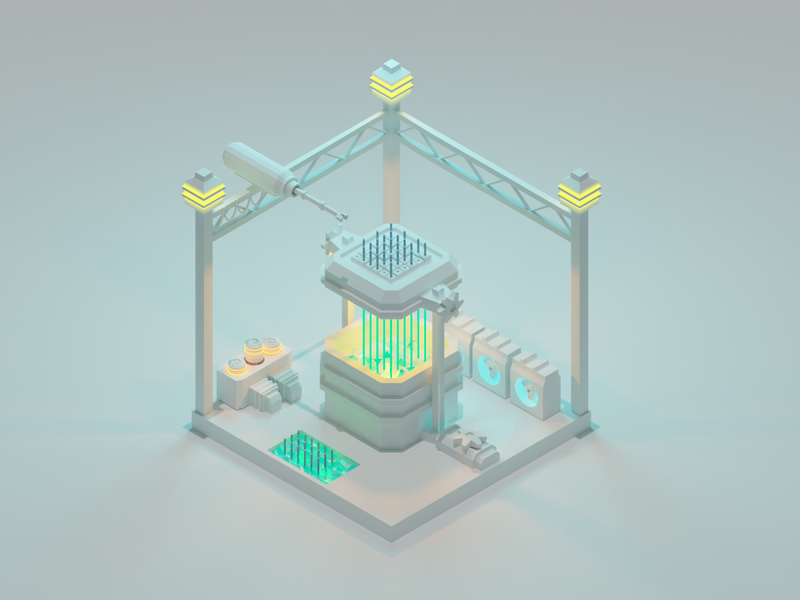 The Reactor nuclear electricity powerplant power reactor lowpolyart low poly diorama design isometric design isometric illustration isometric 3d blender3d blender