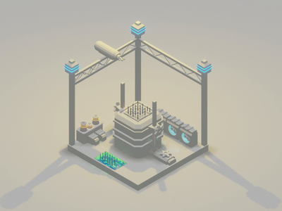 The Reactor Animated lowpolyart low poly industrial electricity reactor nuclear power plant design diorama isometric design isometric illustration blender3d blender 3d animation animated 3d