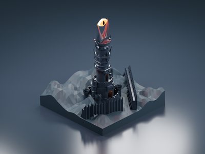 The Fortress of Barad-dûr fortress castle sauron eye tower isometric design 3d art low poly diorama isometric illustration blender blender3d isometric 3d lotr lord of the rings