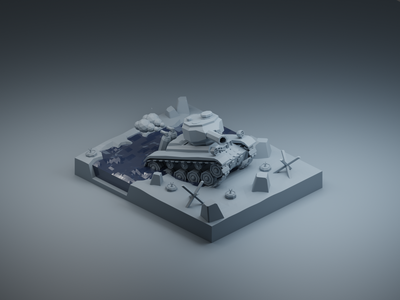 Small tank in Clay form military clay render clayrender clay small tank isometric design 3d art low poly diorama isometric illustration blender blender3d isometric 3d illustration