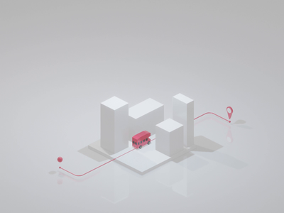 Double Decker dashing through the City location pin location map 3d animation animated animaton city illustration minimalist minimal city isometric design 3d art low poly diorama isometric illustration blender blender3d isometric 3d illustration