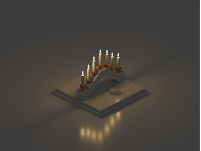 Candlelight matchbox match dark candlelight candle christmas card xmas christmas holiday isometric design 3d art low poly diorama isometric illustration blender blender3d isometric 3d illustration