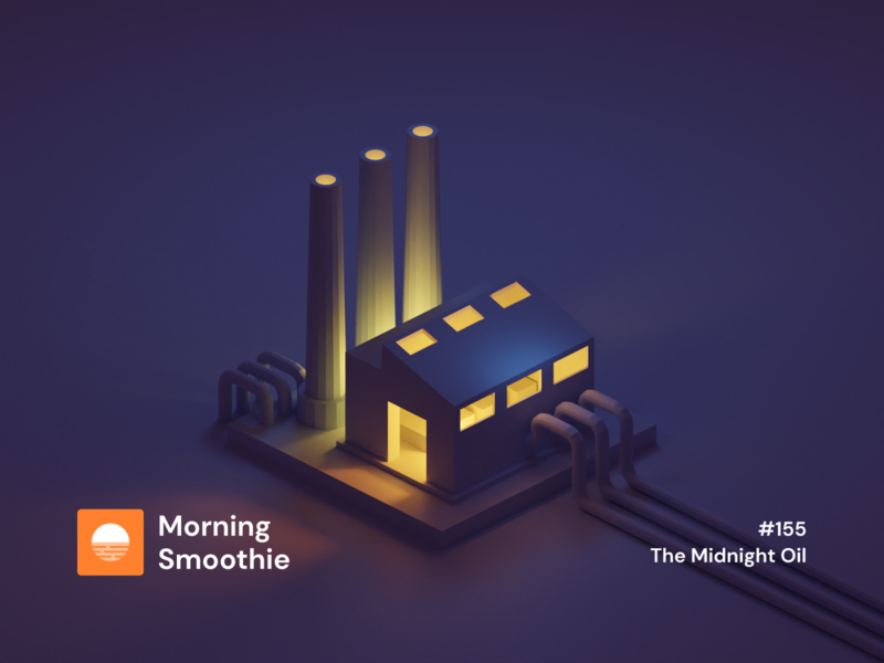 Burning the Midnight Oil constructions building yellow purple night dark midnight oil contrast factory 3d art 3d animation low poly diorama isometric illustration blender blender3d isometric 3d illustration