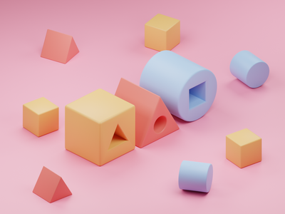 Three of a Kind cylinder triangle cube lego geometric blocks pastels pastel geometry isometric design 3d art low poly diorama isometric illustration blender blender3d isometric 3d illustration