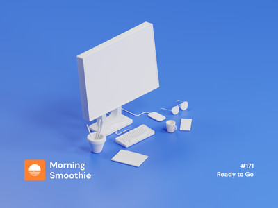 Ready to Go computer pc glasses phone tablet workspace desktop workstation clay render clayrender isometric design 3d art low poly diorama isometric illustration blender blender3d isometric 3d illustration