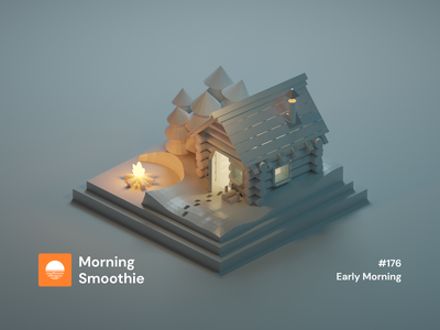 Early Morning alone forest winter snowy snow nature woods fire log cabin isometric design 3d art low poly diorama isometric illustration blender blender3d isometric 3d illustration