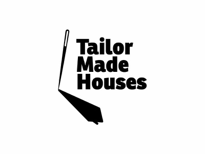 Tailor made houses real estate house tailored tailormade tailor needles needle design brand branding logo