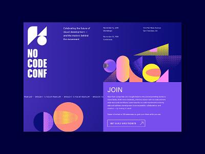 No Code Conf website branding illustration design website webflow
