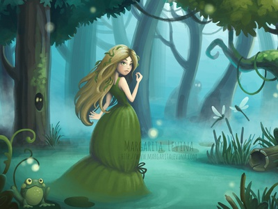 Swamp Nymph 2d illustration cartoon forest character swamp