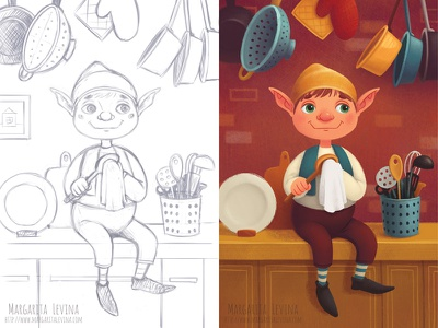 Tihon The House Elf elf house children photoshop 2d illustration character brownie
