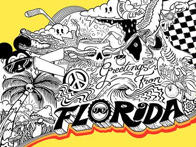 Greetings From Florida - Mural Concept sketch travel akyros lightning logo tampa bay mickeymouse disney procreate art procreateapp procreate illustration design handlettering hand drawn design freelance design illustration peace sign orlando greeting cards florida
