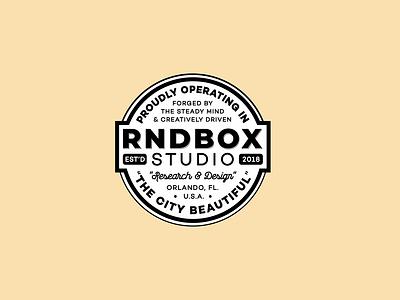 RNDBOX - Badge Design *RIP* designer logo graphic design badge design badge logo akyros typography logo icon freelance design vector branding design