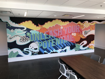 Unleash Your Potential Mural for UCF Downtown 3dtype type mural muralist signpainting illustrativetype downtownorlando universityofcentralflorida ucf orlando orlando mural freelance painting illustration typography mural