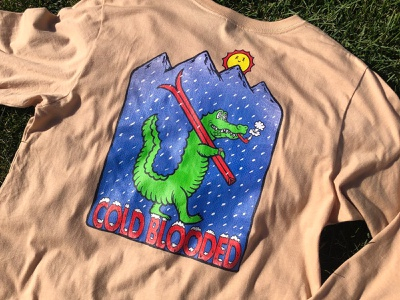 Cold Blooded Prototyping akyros alligator reptile cold coldbeer tshirtdesign winterapparel winter skiing gator illustration dtg coldblooded