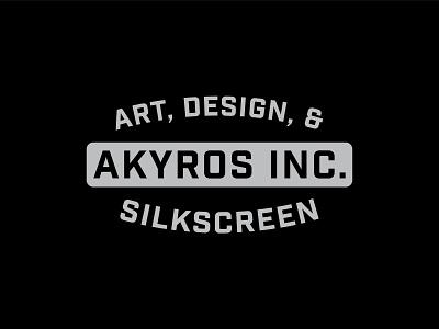 Logotype Akyros Inc. service design icon studio typography screenprinting freelance design logo vector illustration design branding