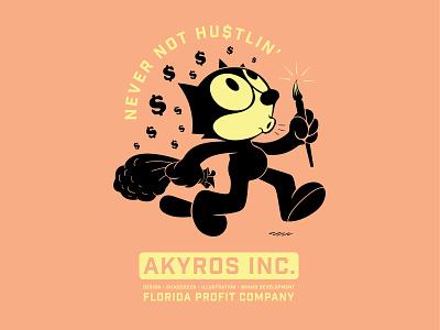 Felix The Hustler for Akyros Inc. tshirt bootleg design screenprinting vector branding illustration
