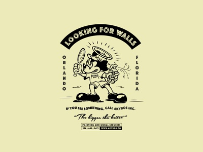 """Looking For Walls"" T-Shirt Design for Akyros Inc. mickey mouse vector design hand drawn screenprinting freelance design illustration branding"