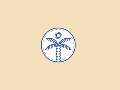 Monoline Palm Tree monoline sun palmtree logo icon freelance design vector illustration design branding