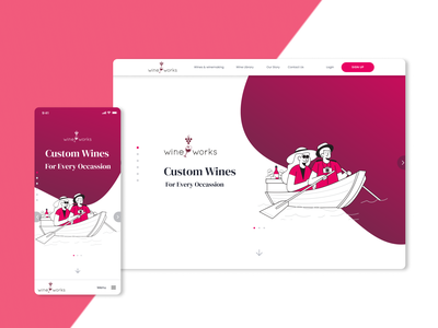 Redesign of Wineworks website winery website website design illustration ui ux wine