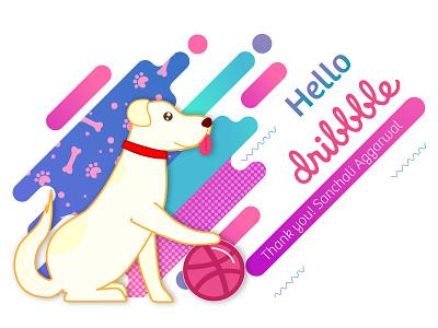 Hello Dribbble! This is my pet Nala ticket shot invitation illustration first thank you illustrator hello dribbble debuts