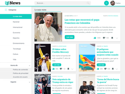 Dashboard Concept ux ui news reader design dashboard clean
