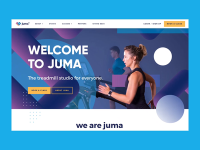 Juma UI parallax identity brand identity pattern treadmill running water spiral heart health gym fitness website ux ui branding design animation motion design motion