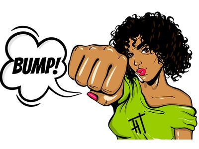 Black woman pop art show bump kick. Portrait.