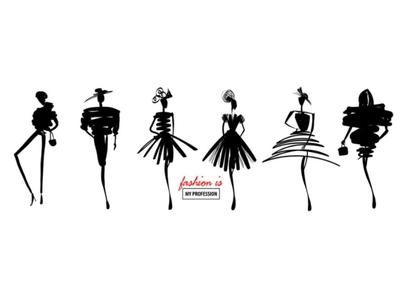 Stylized fashionable female silhouette on the podium