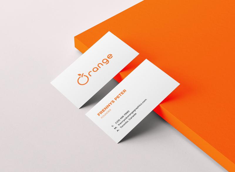 Orange Business card mockup adobe illustrator adobe photoshop card design branding visiting card business card ornage