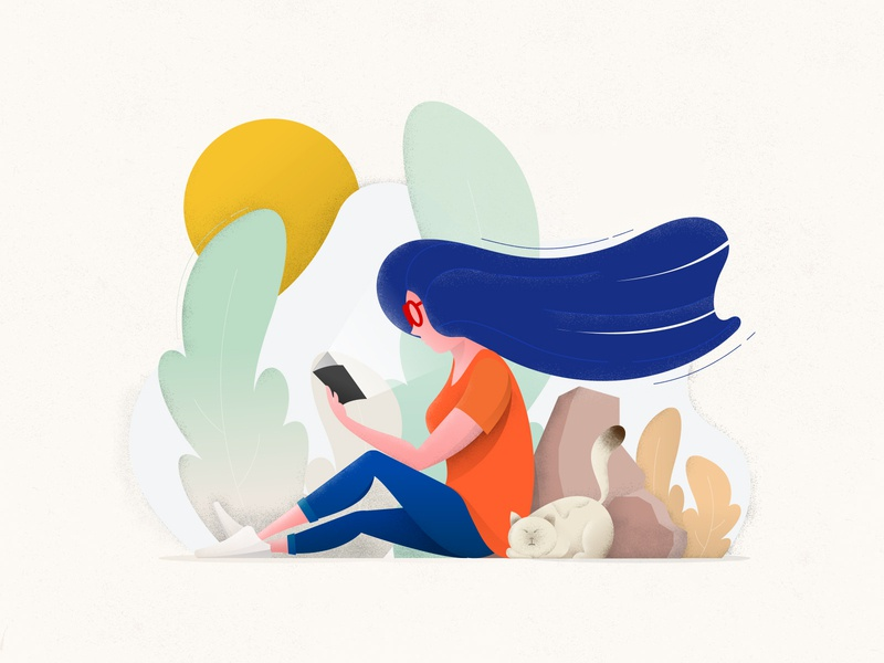 Reading Girl adobe photoshop adobe illustrator illustration woman girl reading book