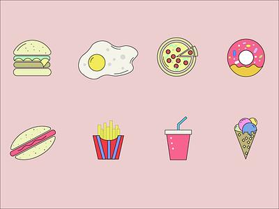 Food icon set ice cream drink fries hotdog donut pizza egg burger icon set flat food icon