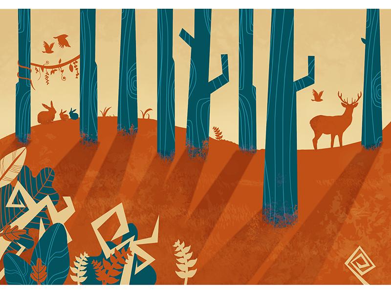 Forest concept illustration design photoshop