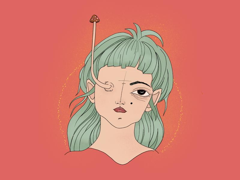 Mushroom girl mushroom surrealism character 2d ipad drawing procreate illustration