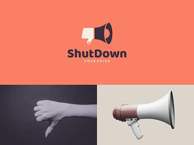 shutdown your voice negativespace icon identity dualmeaning hand speaker dislike concept creative clean brand identity combination rendycemix vector logodesign forsale branding brand design logo