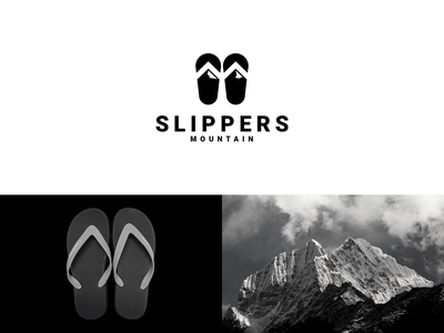 mountain slippers concept adventure simple modern clean mountain logo slippers dualmeaning combination company illustration inspiration graphicdesigns vector forsale logodesign branding brand design logo