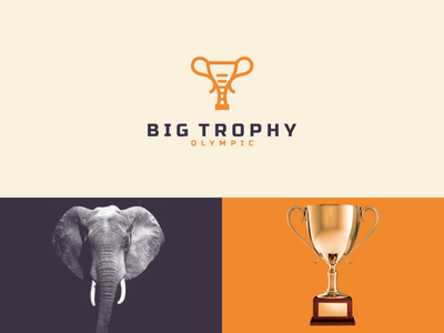 big trophy color olympic trophy elephant big simple concept icon design combination logo company dualmeaning graphicdesigns clean modern rendycemix logodesign branding brand design logo