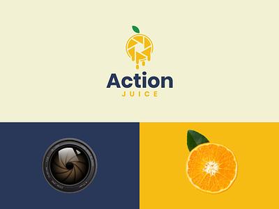 Action Juice camera lens icon company simple logo dual meaning logo combination logo modern logo orange juice action rendy cemix illustration vector graphicdesigns logodesign branding brand design logo
