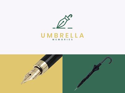 Umbrella Memories combination dual meaning simple company modern pen memories umbrella ui ux illustration vector graphicdesigns logodesign branding brand design logo