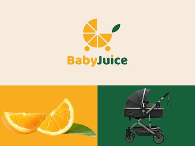 BabyJuice animation icon simple company stroler baby orange juice combination dual meaning graphic design ux ui illustration vector logodesign branding brand design logo