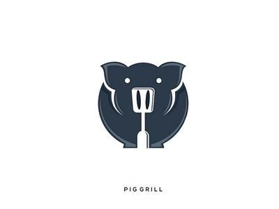 PIG GRILL logoinspiration inspiration design negativespace spatula pig logo