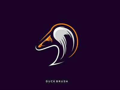 Duck brush logo concept combination brush duck inspiration logo