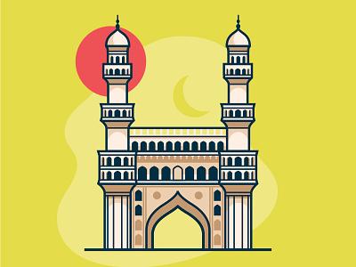 Hyderabad's Charminar landmarks illustration