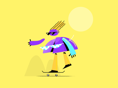 Summer Skater cartoon 2d animation character vector illustration