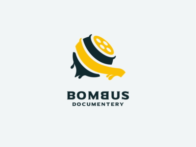 bombus film documentery honey film bee icon ui app flat illustration branding animation vector design logo